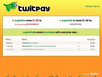Socdir screenshot of Twitpay
