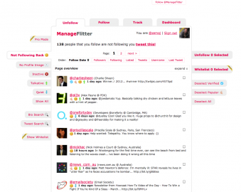 Socdir screenshot of ManageFlitter